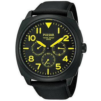 Pulsar On the Go Collection Mens Watch - Black Dial - Yellow Accents - Leather