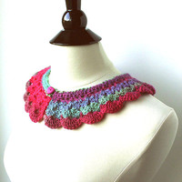 Ombre Crochet Collar, women's collar, fashion collar, crochet collar, handmade collar, women's accessores, teen accessories