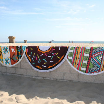 The hippy nest round beach towel, Aztec round beach towel with fringe, Tribal circular beach towel, Bohemian beach towel, Boho beach towel