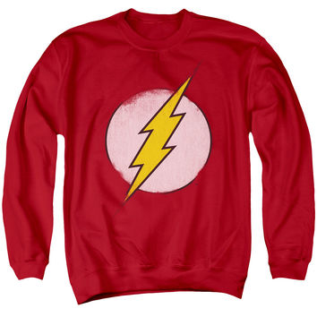 The Flash Distressed Logo Mens Crewneck Sweatshirt