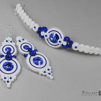 Wedding set Wedding soutache Soutache earrings Orecchini soutache Soutache bilateral Swarovski earrings Soutache bracelet