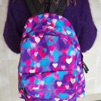 Dreamy Colorful Hearts Backpack (Purple & Red)