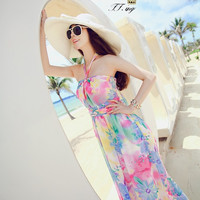 Watercolor Floral Print Halter Chiffon Dress