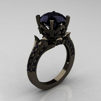 Classic French 14K Black Gold 3.0 Carat Black Diamond Solitaire Wedding Ring R401-14KBGBD
