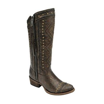 Corral Ethnic Embroideed Lace Gold Tan Leather Boots C2882