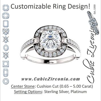 Cubic Zirconia Engagement Ring- The Ebba (Customizable High-Cathedral Cushion Cut Design with Halo and Pavé Band)