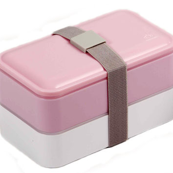 PuTwo Lunch Box Microwave Safe BPA-Free All-in-One Stackable Bento Box