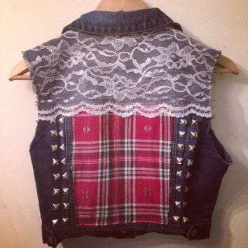 Cropped Denim Vest with Flannel