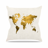 "Chelsea Victoria ""Let Love Light The Way"" Gold Love Outdoor Throw Pillow"