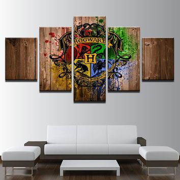 5 Panel Hogwarts Houses Harry Potter Canvas Frame Panel Wall Art For Living Room