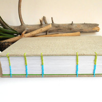 A4 Fabric sketchbook journal with japanese stab binding, handmade fabric sketchbook- 100 or 200 recycled pages- customizable travel journal