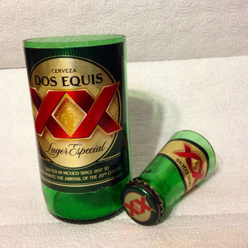 Dos Equis Shot Glass Chaser Set. Recycled Glass Bottle. Man Cave.