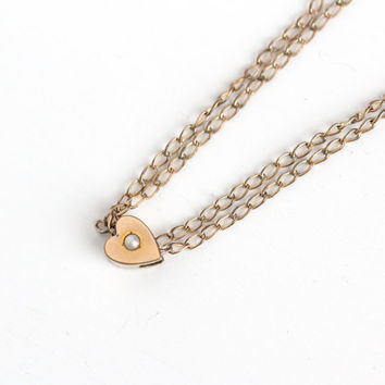 Antique Victorian Era 12k Gold Filled Heart Shaped Pearl Slide Charm Necklace - Vintage Edwardian Fob Pocket Watch Chain Layered Jewelry