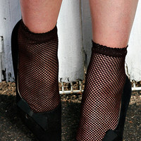 Retro Funky Sexy Hand Dyed Fishnet Ankle Socks Blue, Black, Navy, Purple Khaki, Green, Red