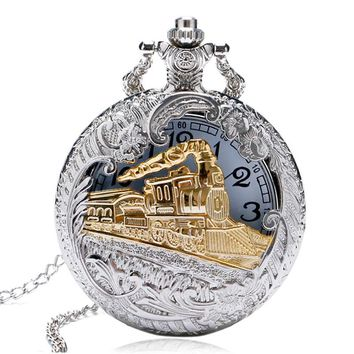 YISUYA Vintage Quartz Pocket Watches Women Charming Gold Train Carved Openable Hollow Steampunk Men Watch Silver Necklace Pendan
