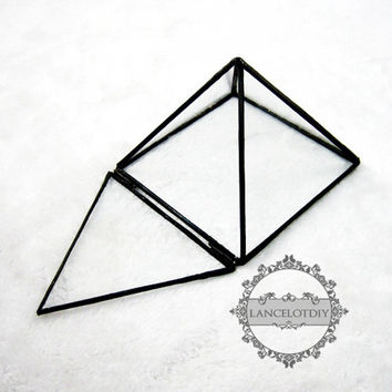 1pcs 10x10x7cm geometric pyramid shape glass terrarium transparent flower arrangement air plant planter greenhouse home decoration 0100016
