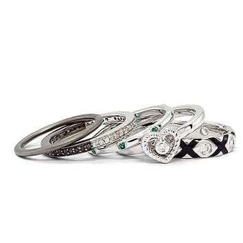 Two Tone Sterling Silver, Diamond & CZ Stackable Romance Ring Set