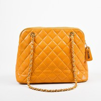 Chanel Orange Quilted Caviar Leather Shoulder Bag