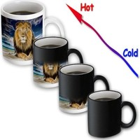 3dRose mug_167119_3 King of The Jungle, Stunning Lion on The Prairie with Digital Affects, Magic Transforming Mug, 11-Ounce