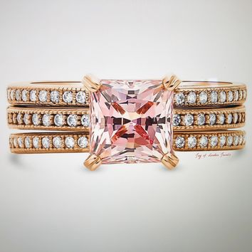 A Perfect 14K Rose Gold 2CT Princess Cut Morganite Solitaire Bridal Set Wedding Band Ring