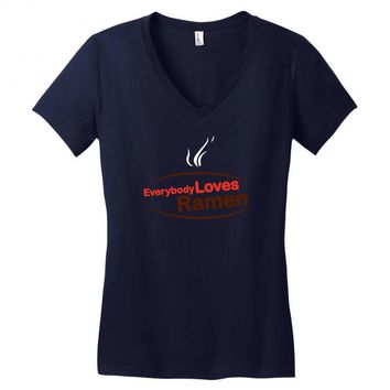 everybody loves ramen Women's V-Neck T-Shirt