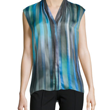 Adira Sleeveless Striped Blouse, Size: