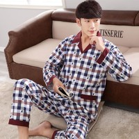 Spring and autumn A04 men sweat long sleeves cotton cardigan pajamas