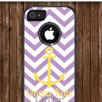 iPhone 5 Case Personalized Monogrammed iPhone OtterBox Commuter Phone Case - iPhone 4/4S, iPhone 5/5S, iPhone 5C -Chevron & Anchor Pattern