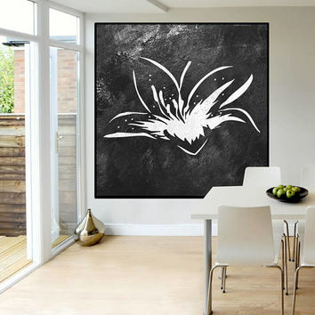 flower abstract Painting on canvas, black and white original painting, handmade Abstract Canvas Art, Black and White wall art