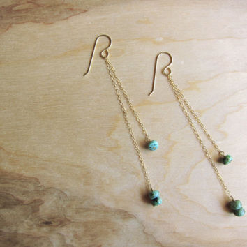 African Turquoise and 14k Gold Earrings- Chain Earrings - Long Earrings - Minimalist - Natural Stone - Dangle Earrings - Jewelry Sets - Teal