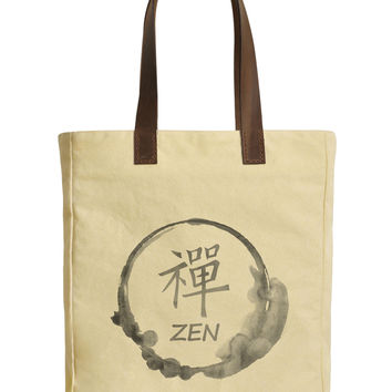 Women Zen Stamp-1 Beige Printed Canvas Tote Bags Leather Handles WAS_30