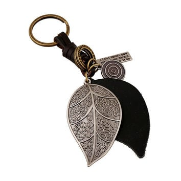 2017 New Style Pure Manual Weaving Retro Big Leaves Design Key Chain Male and Female Genuine Leather Metal Keychain