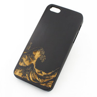 Black Bamboo Wood Case - Great Wave Off Kanagawa