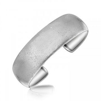 Sterling Silver Rhodium Plated Domed Cuff with Inspired Design