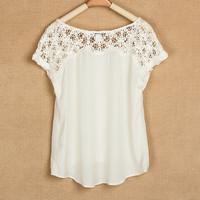 Summers White Lace Stitching Short Sleeve Chiffon Shirts
