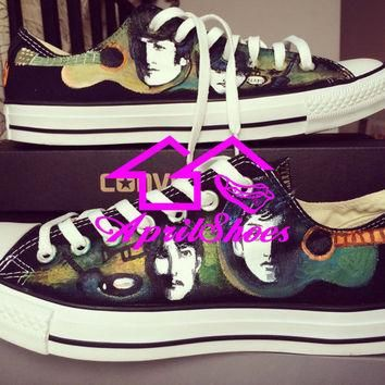 Custom Low Top Converse, The Beatles Inspired Shoes, Hand Paint All Star Low Cut, Guit