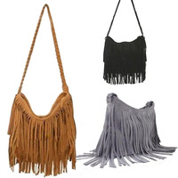 Suede Fringe Weave Tassel Shoulder Bag Messenger Bag