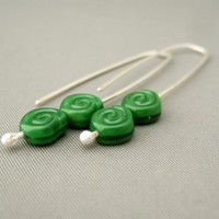 Forest Green Spiral Swirl Czech Glass Earrings. Sterling Silver Drop Earrings. | The Silver Forge Handcrafted Jewellery