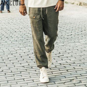 AK CLUB Brand Casual Pants 2017 Cuba Libre Baggy Pants Drawstring 100% Linen Pants Men Loose Fit Navy Khaki Men Trousers