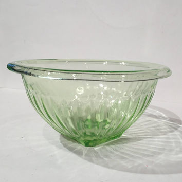 Vaseline Glass Mixing Bowl| Federal Ribbed Green Glass Bowl