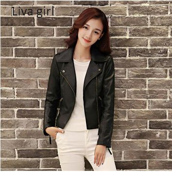 Liva Girl Autumn Women's Fashion Jackets Plus Size Long Sleeve Solid Color Slim PU Jackets Women Casual Zipper Leather Jackets