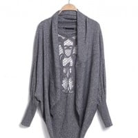 Hollow Bat Sleeve Sweater Shawl
