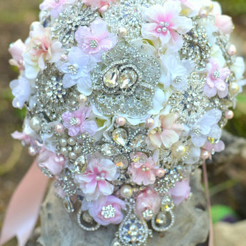Cascading blush garden rose wedding bouquet -- deposit on a made-to-order wedding brooch bouquet