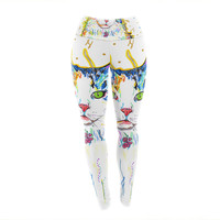 "Rebecca Fischer ""Royal"" Rainbow Cat Yoga Leggings"