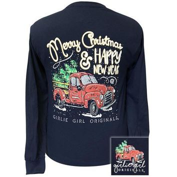 Girlie Girl Originals Preppy Merry Christmas Truck Long Sleeve T-Shirt