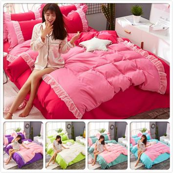 Red Pink Lace Ruffled Bed Linens Princess Soft Cotton 3pcs/4pcs Bedding Sets Girls Bedclothes Single Twin Queen Size Duvet Cover