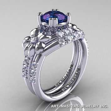 Nature Inspired 14K White Gold 1.0 Ct Alexandrite Diamond Leaf and Vine Engagement Ring Wedding Band Set R245S-14KWGDAL