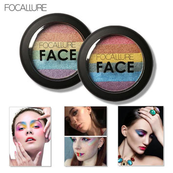 Focallure Eye Shadow Rainbow Highlight Eyeshadow Palette Baked Blush Face Shimmer Color