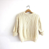 Vintage fishermans sweater. Irish wool sweater. Chunky knit sweater. cropped sweater. M