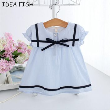 IDEA FISH 2017 Summer Baby Dress Cotton Bow Infant Girl Dresses Puff Sleeve Toddler Baby Girl Clothes blue white 0-2T